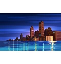 Beautiful night cartoon city with moon vector