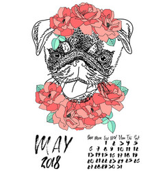 Calendar with dry brush lettering may 2018 dog vector