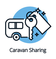 caravan sharing community sharing economy concept vector image vector image