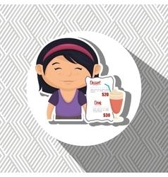 Cartoon girl menu food drink vector