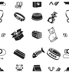 Cat equipment pattern icons in black style big vector