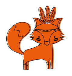 Color cute fox animal with feathers design vector