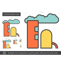 Contamination line icon vector