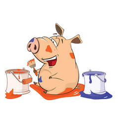 Cute pig house painter cartoon vector