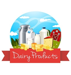 Dairy products with text vector