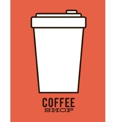 Disposable cup of coffee shop design vector