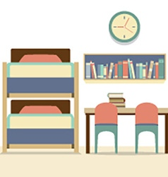 Empty Bunk Bed With Table And Chairs vector image