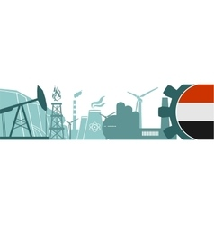 Energy and power icons set yemen flag vector