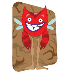 Funny looking red alien monster with wings vector