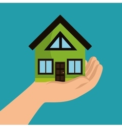 Hand holds house ecology design vector