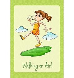Idiom walking on air vector image