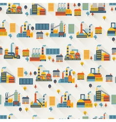 Industrial factory buildings seamless pattern vector
