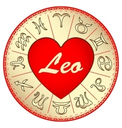 Leo zodiac sign for lovers on valentine vector