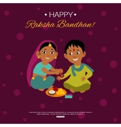 Little happy brother and sister celebrating raksha vector