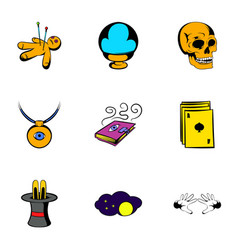 Magic thing icons set cartoon style vector