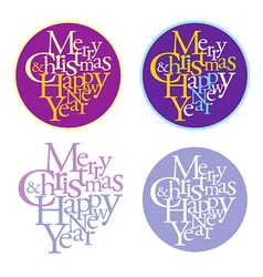 Merry Christmas and happy new year logotype vector image