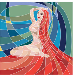 Mosaic woman with red hair on colorful background vector