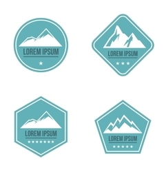 Mountain white logo on blue background vector image vector image