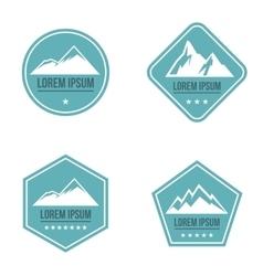 Mountain white logo on blue background vector