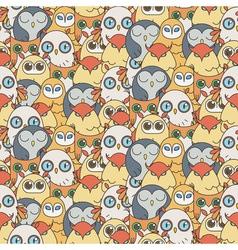 Random owls seamless pattern Cute nignht birds For vector image vector image