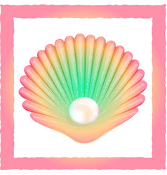 seashell with pearl vector image vector image