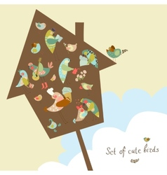 Set of cute birds in vector image