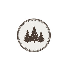 trees icon patch and sticker vintage hand drawn vector image vector image