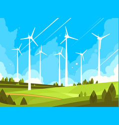 windmills on green fields vector image
