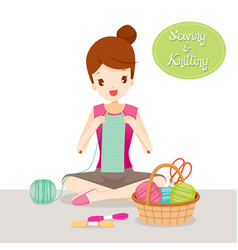 woman knitting scarf vector image vector image