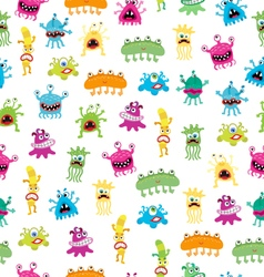 Cartoon cute monsters bacterias seamless pattern vector