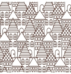 Outline coloring cityscape seamless pattern vector