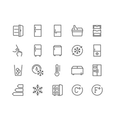 Line Fridge Icons vector image