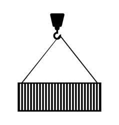 Container hanging in crane vector
