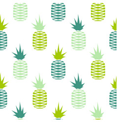 Green pineapple seamless fruit pattern vector