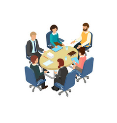 Conversation at the round table in the office vector