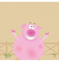 cartoon pig vector image