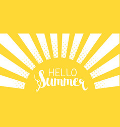 Sun rays background with hello summer letters vector