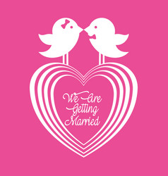 We are greeting married couple birds and heart vector