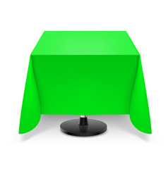 Square dining table with green tablecloth and vector