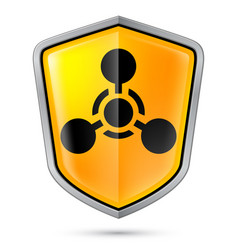 Warning sign on shield indicating of chemical vector