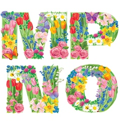 Alphabet of flowers MNOP vector image