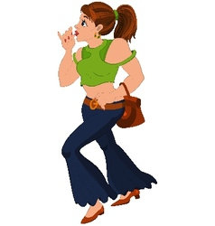 Cartoon girl in blue pants and green top holding vector