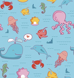 Seamless pattern with cartoon sea characters vector