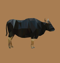 Geometric polygonal buffalo pattern design vector