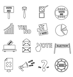 Election black simple outline icons set eps10 vector