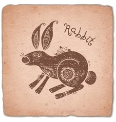 Rabbit chinese zodiac sign horoscope vintage card vector