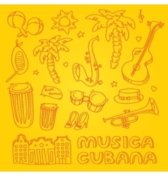 Cuban music with musical instruments vector