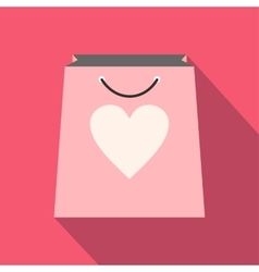 Shopping bag with heart icon vector