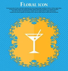 Cocktail martini alcohol drink icon floral flat vector