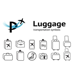 Transportation icons set luggage baggage liquid vector